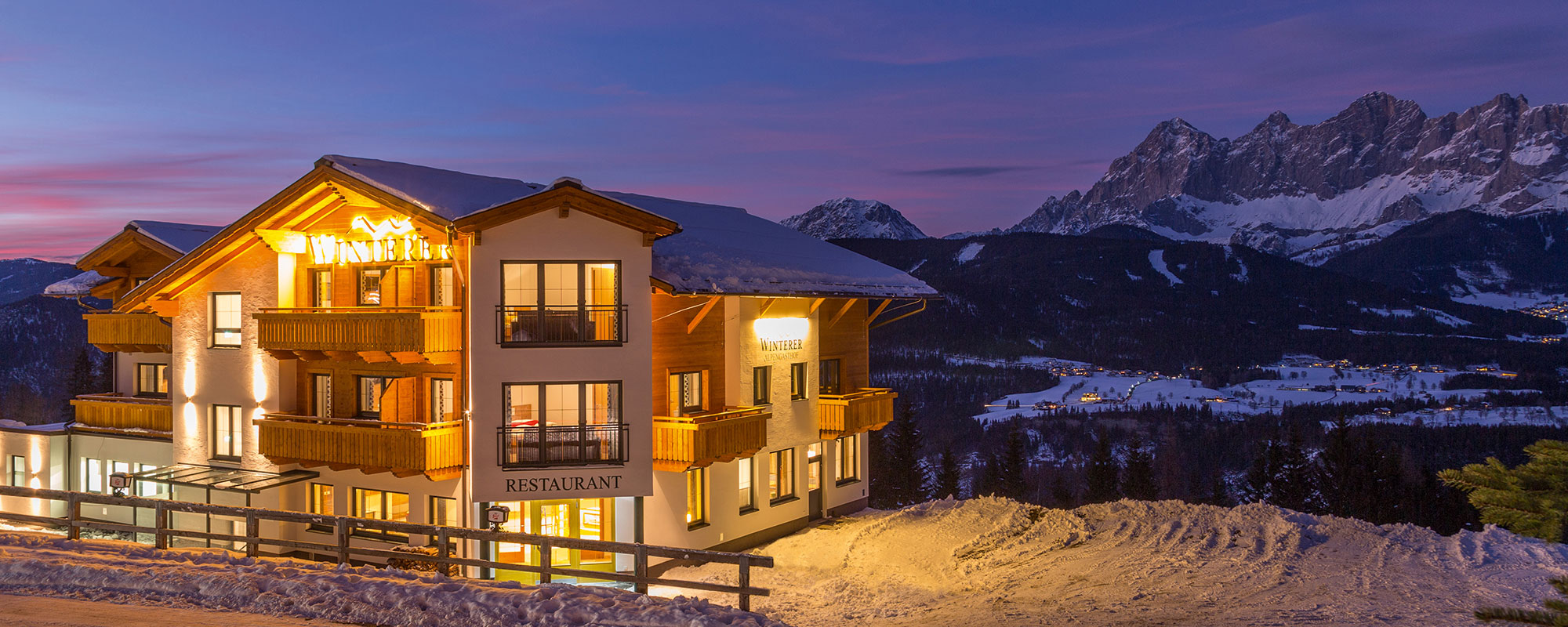 Blue hour at Hotel Winterer in Schladming